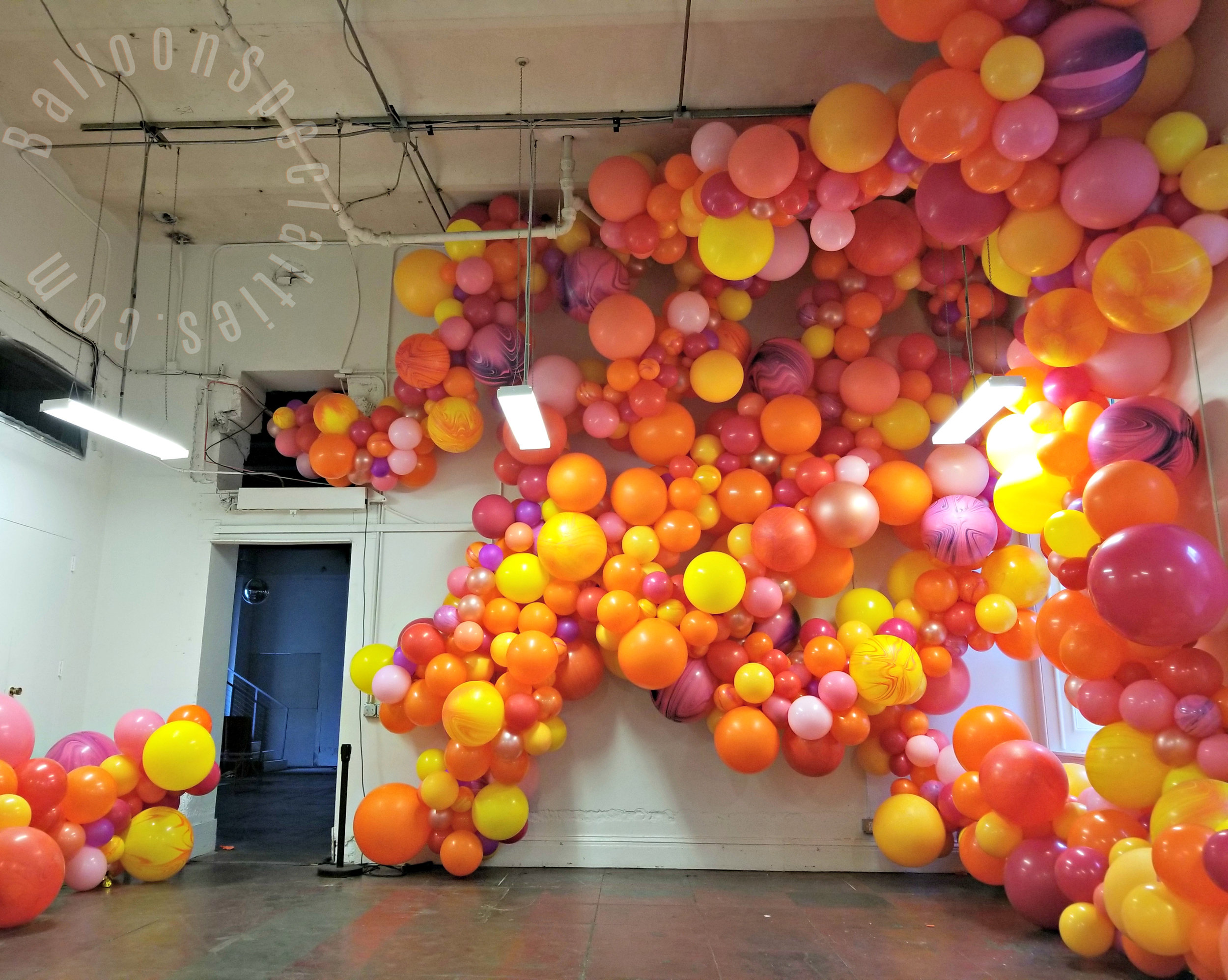 San Francisco Mint Balloon Wall Garlands  On Ceiling Zim Balloon Specialties.jpg