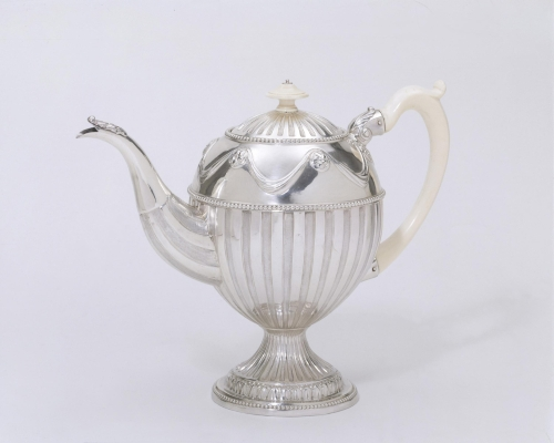 Teapot and coffee pot with ivory handles from a silver tea service by James Young & Orlando Jackson; London, 1774-75. Celebrated actor David Garrick and his wife were leaders of fashion, and this elegant Neo-classical service was probably commissioned for their house in London.  Photos ©Victoria and Albert Museum, London.