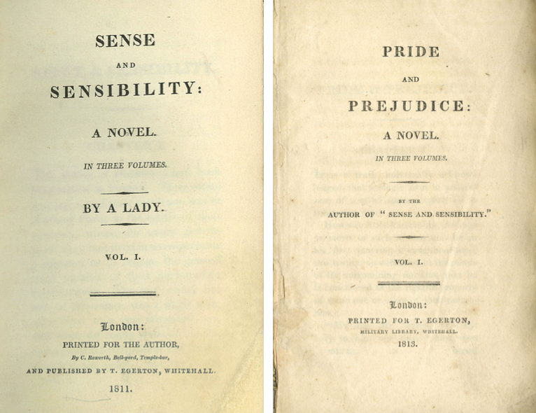 Title pages of first editions of  Sense and Sensibility  and  Pride and Prejudice .