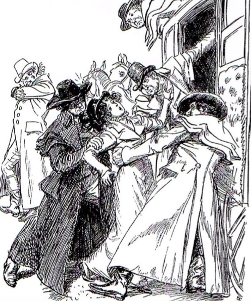 """The three villains in horsemen's greatcoats"" - From  Northanger Abbey  (Macmillan, 1901 - 1903). Illustration by Hugh Thomson."