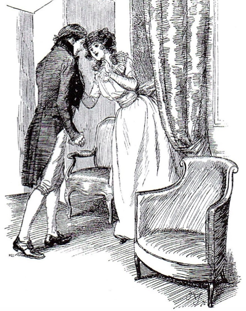 """Drawing him a little aside"" - From  Sense and Sensibility  (Macmillan, 1901 - 1903). Illustration by Hugh Thomson."