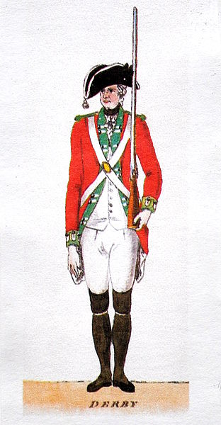Watercolour by an unknown artist, depicting a militia private from the Derbyshire Volunteers, around 1780.  Credit: Wikipedia