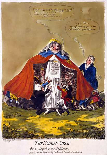 The modern Circe or a sequel to the petticoat  by Isaac Cruikshank (1809). Cartoon shows Mrs. Mary Anne Clarke, wearing the Duke of York's military cloak, extending it to cover a crowd of miniature soldiers, civilians and clergymen clustering around her with outstretched arms, Mr. Waddle (Mr. Wardle), standing to the side, gazes at her and declares his fascination. (Photo by: Photo 12/ UIG via Getty Images)