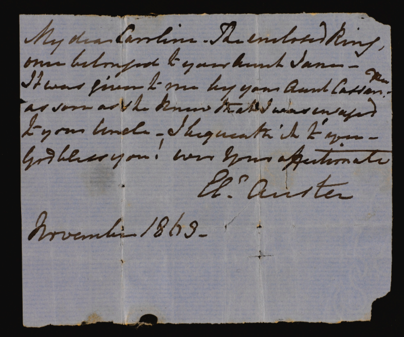 Note from Eleanor Austen (Jackson) to Caroline Austen.  Credit: Sotheby's