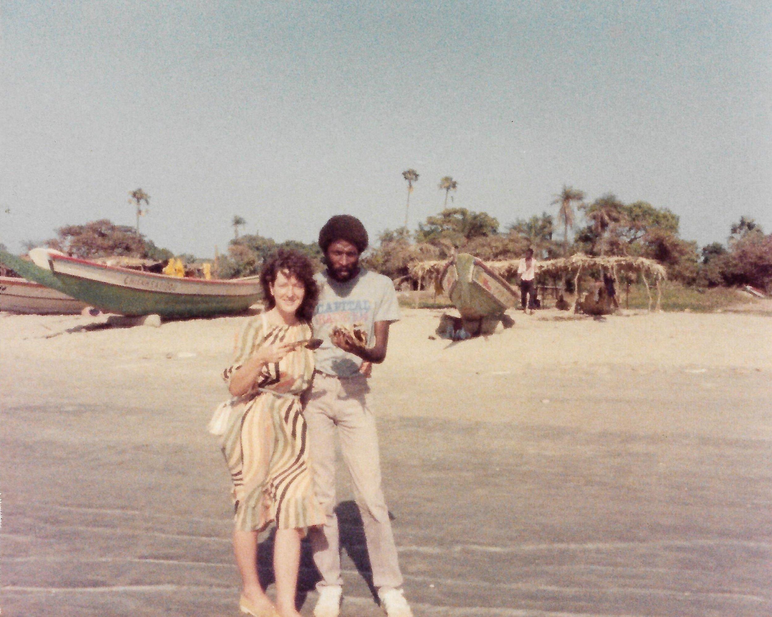 Jane and a friend in the Gambia.  Credit: Jane MacKenzie.