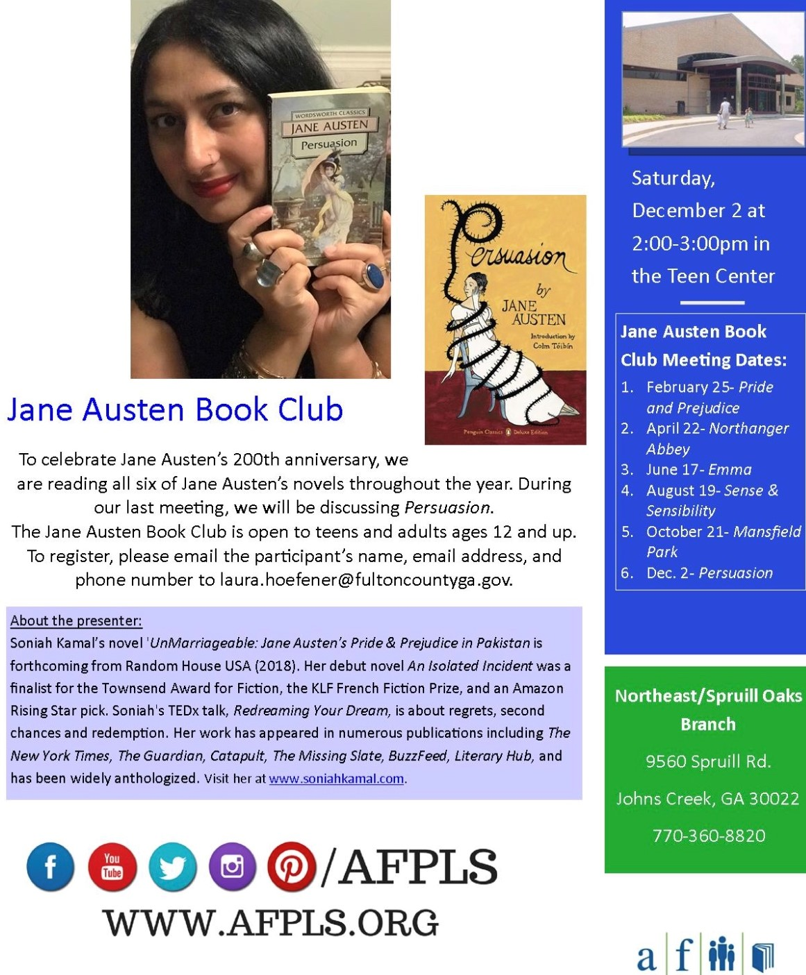 The flyer sent out to advertise Soniah's book club.