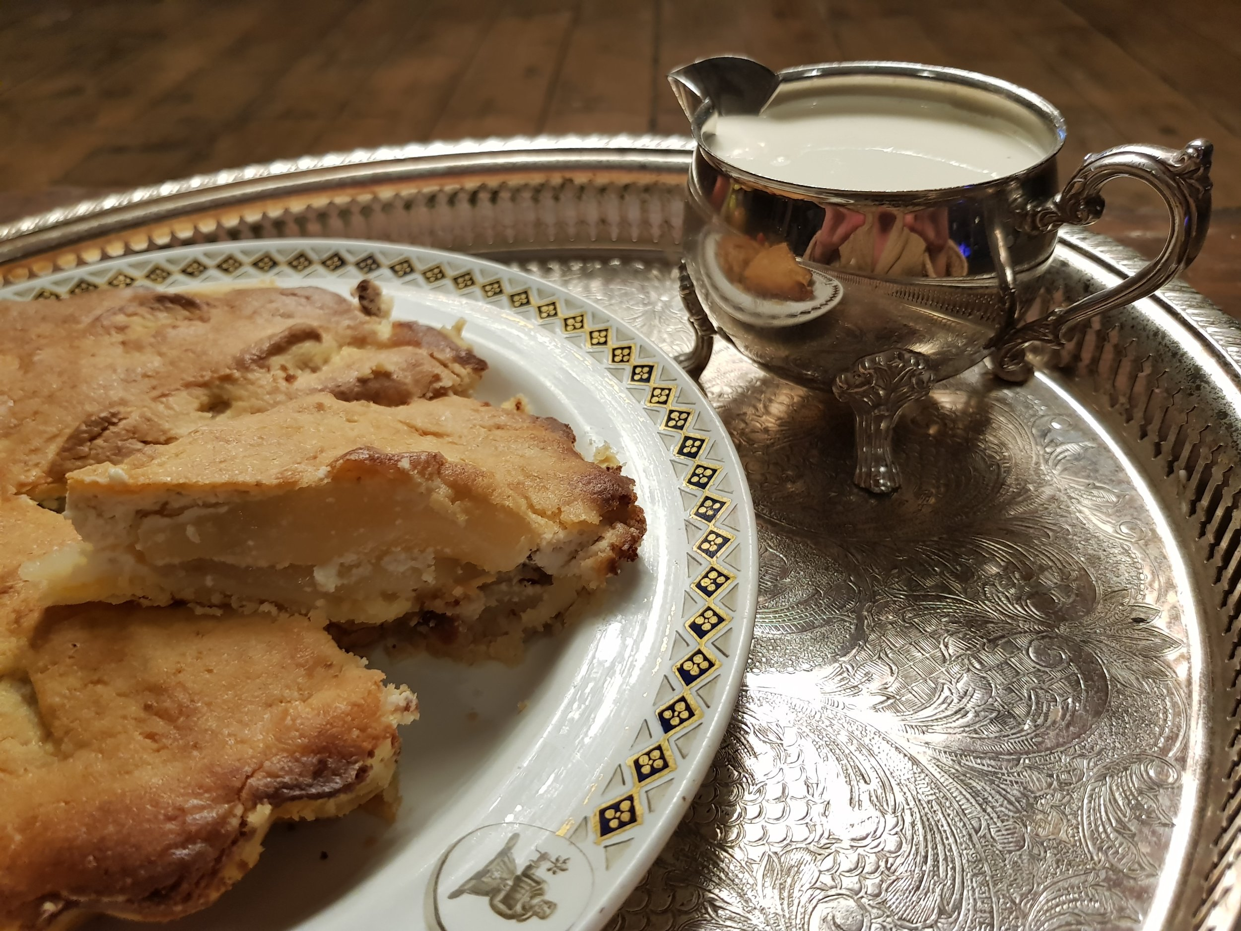 Caroline's Apple Pie (based on a recipe by Martha Lloyd) on the family's 1813 Wedgwood china.  Credit: Caroline Knight
