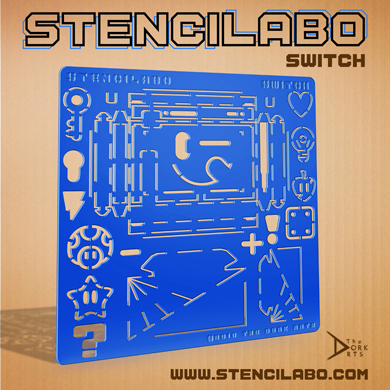 """STENCILABO • Switch  Stencils designed for the switch console measurements, features, & basic boxing of it all with additional stands and decor.  PRODUCT SPECS:  • 14.5""""w x 14.5""""h x 3/16""""d  • Acrylic Plastic"""