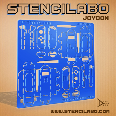 """STENCILABO • Joycon  Stencils designed for the joycon remotes (left and right) measurements, features, & basic boxing of it all with additional stencils for attaching the joycons (like the RC car in toycon 1), and windows for the right joycon sensor camera.  PRODUCT SPECS:  • 14.5""""w x 14.5""""h x 3/16""""d  • Acrylic Plastic"""