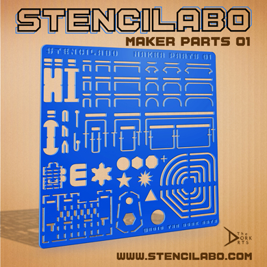 """STENCILABO • Maker Parts 01  Stencils designed for some of the more common tabs, anchors, corners, and hooks involved in Labo crafting as well as a crank.  PRODUCT SPECS:  • 14.5""""w x 14.5""""h x 3/16""""d  • Acrylic Plastic"""