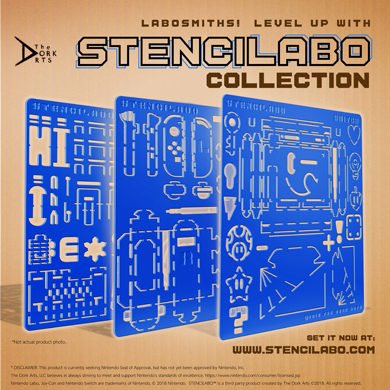 """STENCILABO • Collection  A collection of all three Stencilabo in this series (Switch, Joycon, Maker Parts 01).  PRODUCT SPECS:  • 14.5""""w x 14.5""""h x 3/16""""d  • Acrylic Plastic"""