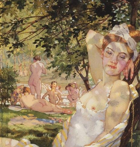 """Bathing in the sun"" by Konstantin Somov"