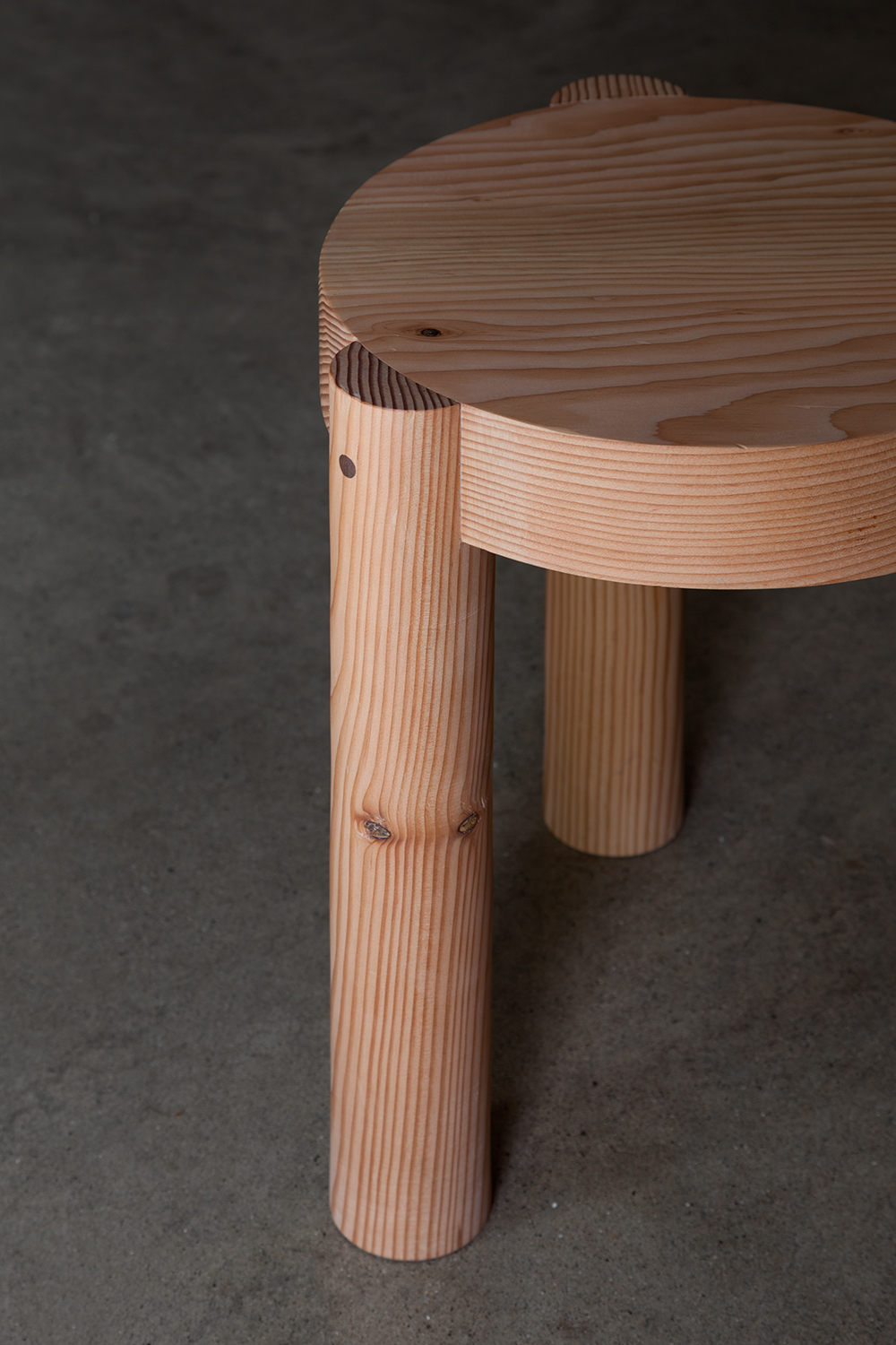 Roundy Stool, a collection of douglas fir stools and table, contact for availability.