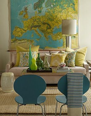 This room uses the colours from the map as a starting point for decoration. This creates a cohesive scheme.