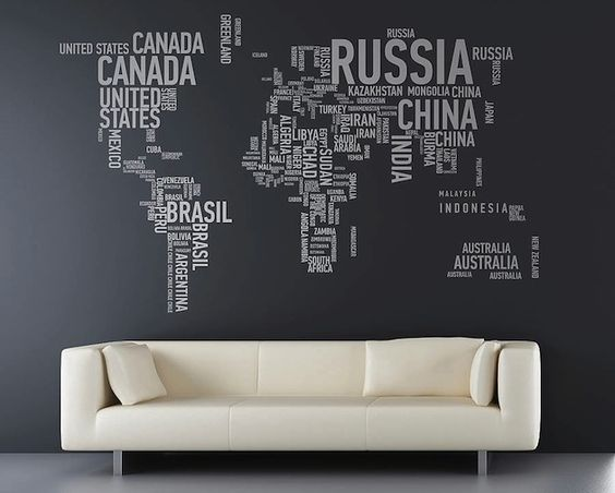 This word map really stands out against the dark background. A modern, minamilist look.