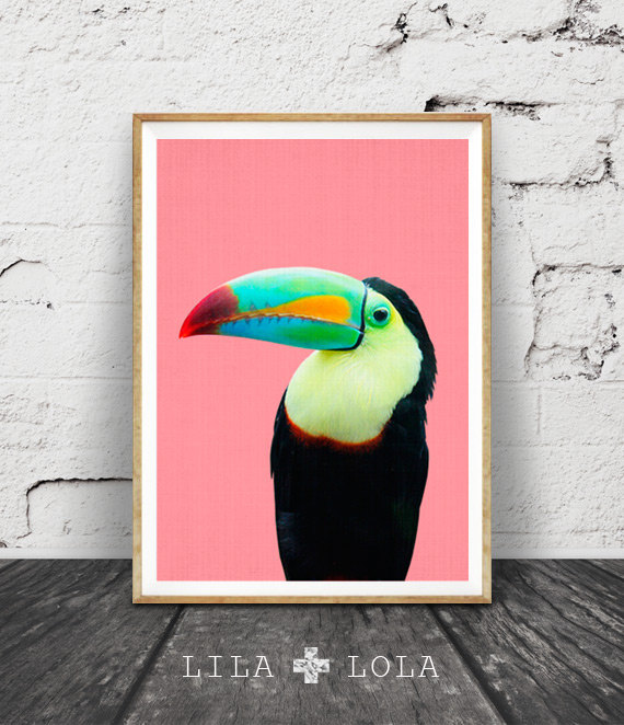 Sit back and imagine you're in the rainforest with this gorgeous  Lila + Lola Tropical Bird Print