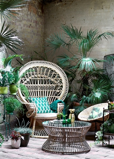 Add some green accessories to your cane furniture and bring in the yukka. A couple of pots grouped together and you'll soon feel you're in the jungle.