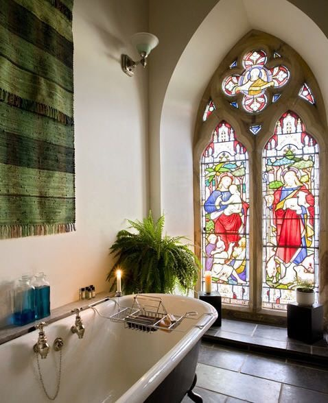 The evening light through those windows would look lovely while relaxing in a bath at the end of a busy day.