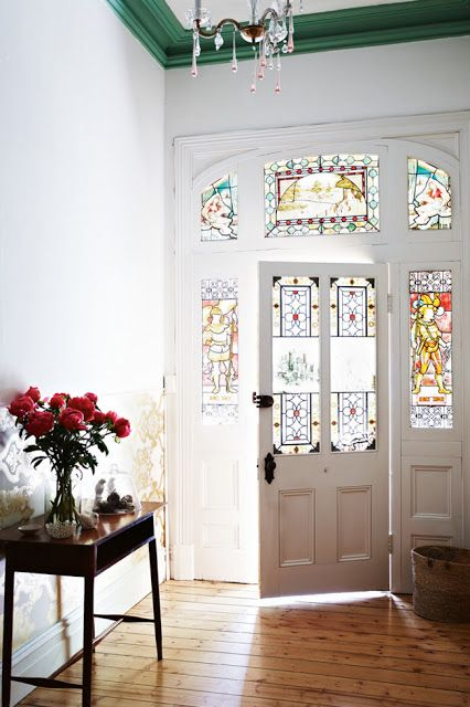 Nothing can beat the colours and light of sunlight streaming through a stained glass front door.