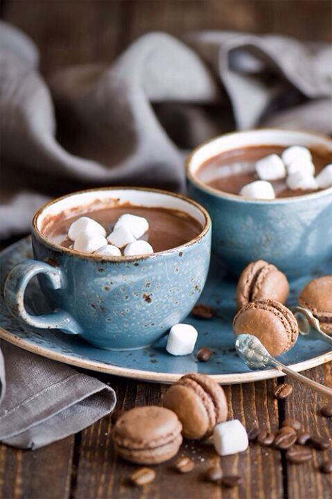 Drinking hot chocolate, being warm, enjoying time with someone else - this is a hygge moment.