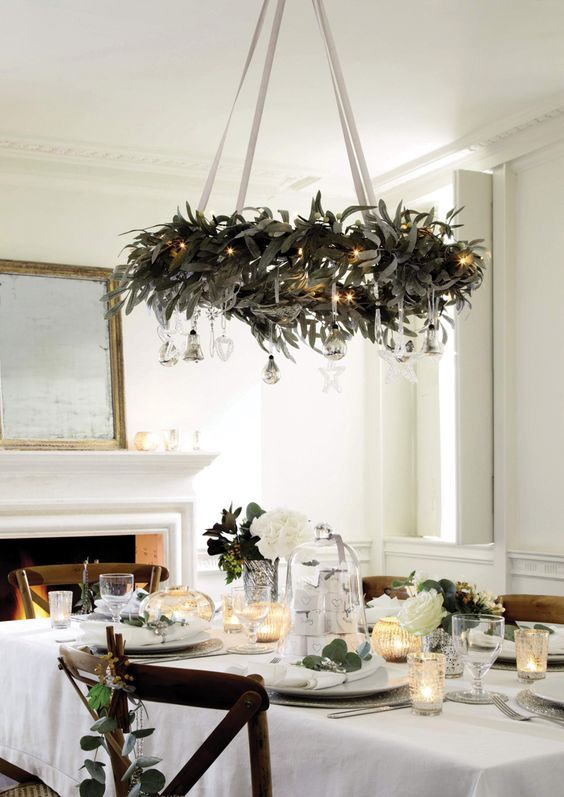 Adding greenery to your ceiling lights or up high is relatively simple to do, but will instantly provide a focal point and give a much greater impact. Finish off with some sprigs for the table and place settings. So easy and so effective! Candles will provide a twinkling flicker as the night draws in.   Source: godfather style.com