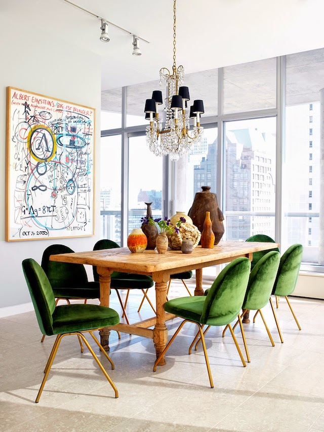 If you're ready to be a bit bolder and bring out the green into your dining space - a wise choice to promote healthy eating after all - take a look at these dining rooms. Two rooms both influenced by Greenery and yet two very different looks. In the above picture, the warmth of wood goes so well with green. They really compliment each other and the gold legs add a sense of luxury. The incredible view, the colourful picture and objects on the table mean there are colours and objects which balance out the strong green.    Picture: frenchbydesignblog.com