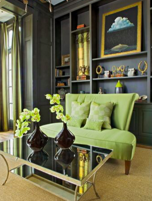 For those die-hard grey fans, this zesty green even works with this rich grey wall. See how it gives the opportunity to use gold, glass and mirrored objects and brings an opulence to the whole room. The green sofa here really 'pops' - I wonder if a green velvet one would look even better.   Picture: themakerplace.co.uk