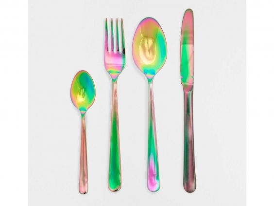 4) Colour Effect Steel Cutlery    For some real fun at dinner time, give your guests these colour changing cutlery. They create a ripple of rainbow colour as you move them around, so are perfect for adding some brightness to your dining table.