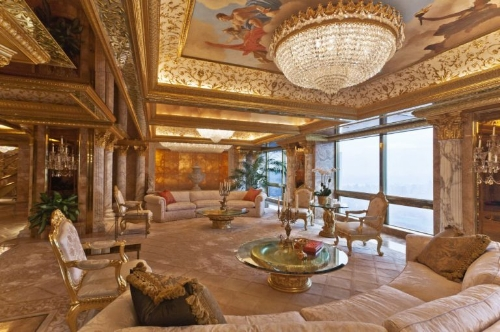Comprising the top three floors of Trump Tower, the interiors of Donald and Melania's home were designed by Angelo Donghia in Louis XIV style and decorated using 24K gold and marble.   Photo: idesignarch.com via Sam Horine