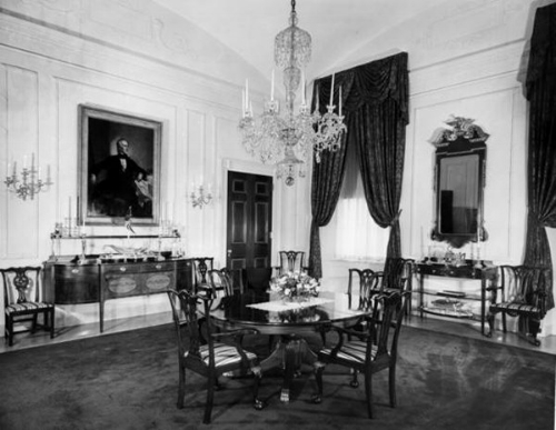Now in 1952, Truman added this chandelier to the private dining room, which at once gives it a greater sense of grandeur.   Photo: whitehousemuseum.org