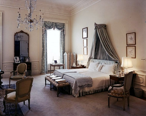 """The master bedroom in 1962.John & Jacquie Kennedy preferred to have separate bedrooms, so although this was traditionally the master bedroom for the President, it was Jackie Kennedy's personal bedroom. Blue was the dominate colour here and she brought the curtains with her from her former bedroom in Georgetown—a choice she later regretted, calling the fabric """"rather country-type material"""" that didn't fit with the White House's neoclassical style.   Photo: whitehousemuseum.org"""