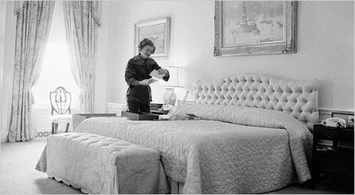 Betty Ford pictured here in 1977 on the day before Jimmy Carter's inauguration. She re-instated the headboard from Mamie Eisenhower's time.   Photo: whitehousemuseum.org
