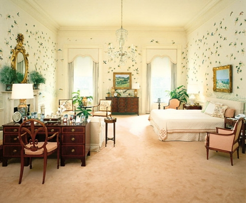 Nancy and Ronald Reagan's bedroom in 1981 was a cream-coloured space lined with hand-painted chinoiserie wallpaper depicting flocks of birds perched in a grove of bamboo.   Photo: whitehousemuseum.org