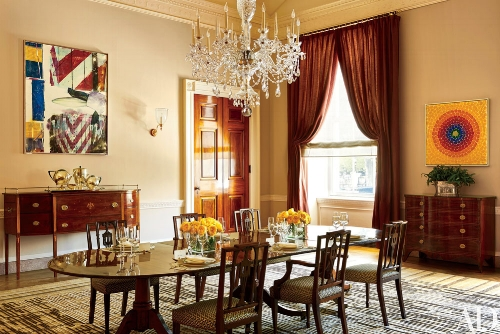 The Obamas have created a lovely dining room and put a very modern stamp on this traditional home. The painting on the left is by pop-art painter Robert Rauschenberg and is only the fourth piece of contemporary artwork to join the White House collection. The painting on the right is by African-American Expressionist painter Alma Thomas, the first African-American woman to have her work hung in the White House. Michelle Obama has talked about adding 'new voices to the national conversation'and this idea was behind many of her choices.   Photo: whitehousemuseum.org