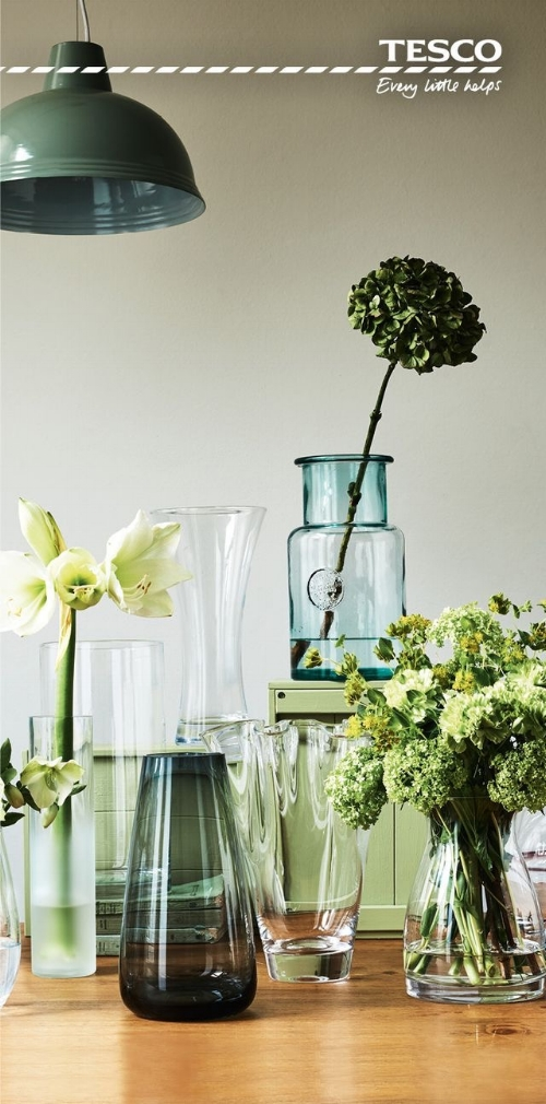 Gorgeous glassware at Tesco will make you want to keep adding to your collection every time you shop!    -  Recycled Large Glass Vase   -   Handkerchief  Glass Vase   -  Copper Ombre Effect Vase   -  Ceramic Textured Bottle Vase Teal