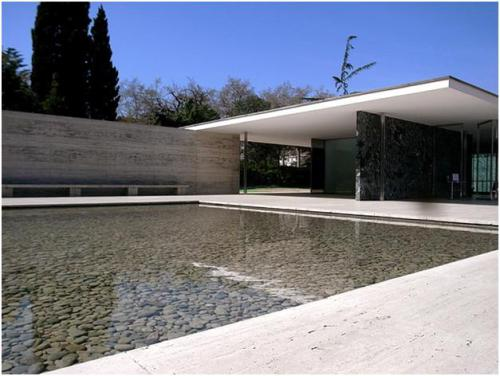 In 1929 Ludwig Mies van der Rohe designed this building for an International Exhibition in Barcelona and wowed those who saw it. At this time Art Deco was a key design style, incorporating curves, ornamental features and elaborate decoration. Modernism is the very opposite, a reaction against all this embellishment and a return to form and function.   Image:roomology.wordpress.com