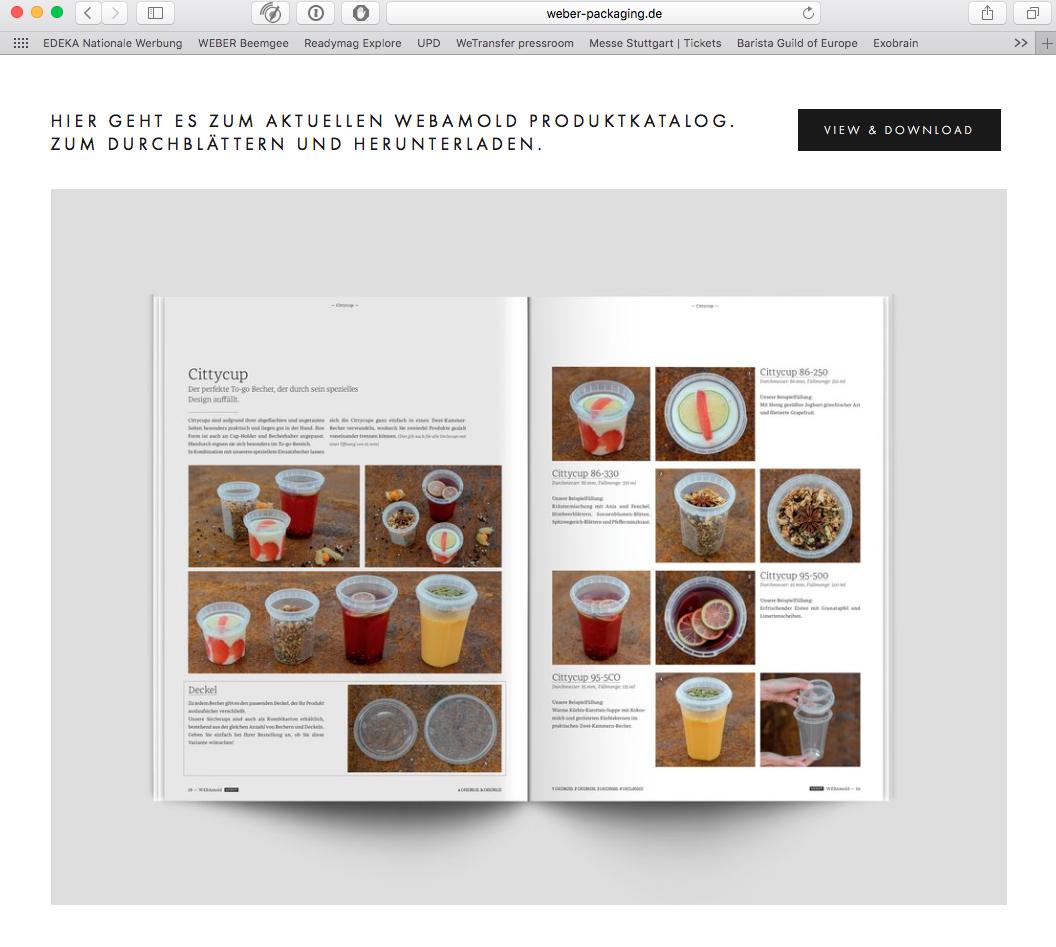 Online blätterbar. Der neue WEBAmold Katalog. Screenshot: © WEBER Packaging GmbH, 2017