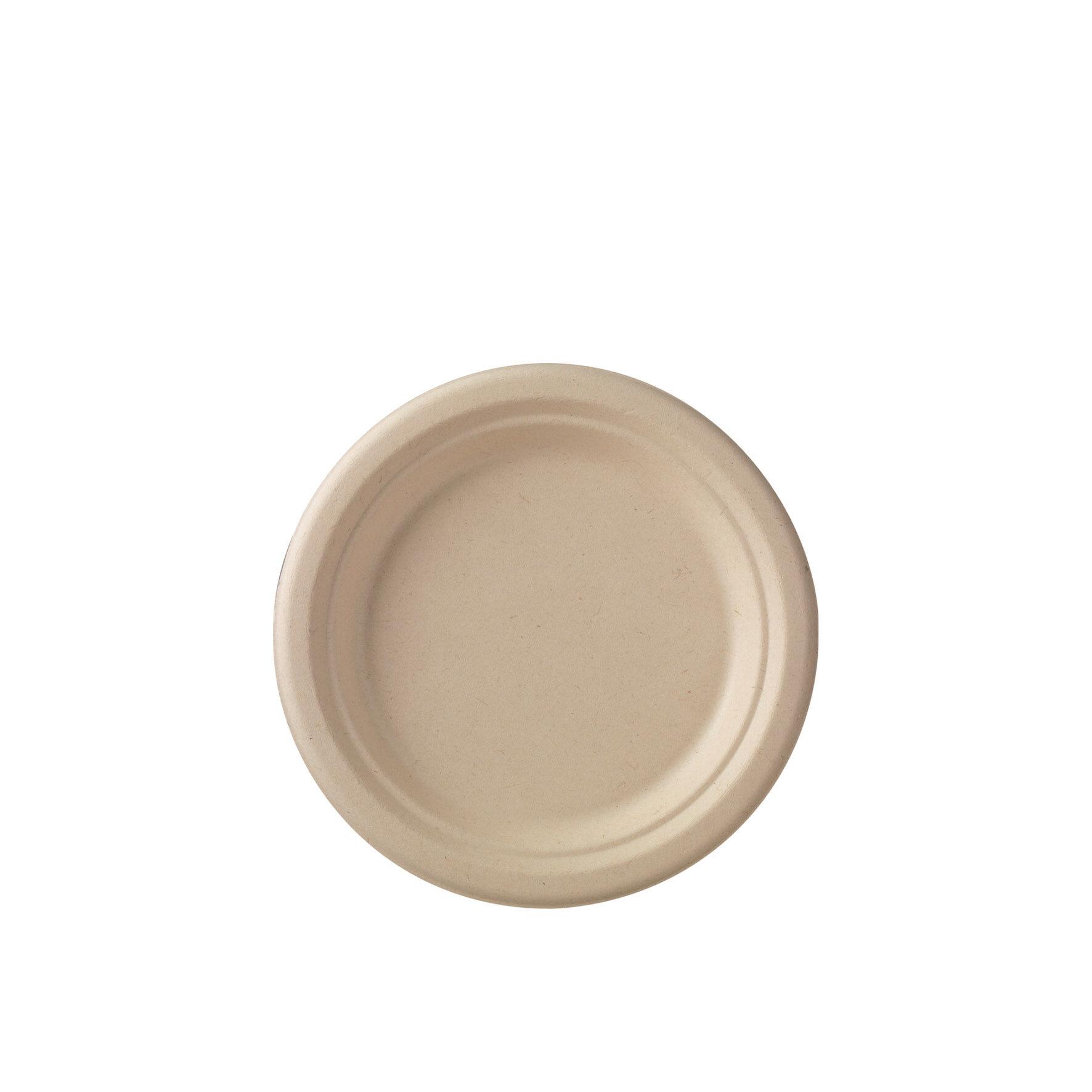WEBAplate  Teller rund aus Zuckerrohr    geeignet für Mikrowellen, bis max. +100 °C, aus Zuckerrohr-Pflanzenresten, fettig, flüssig, schnittfest, kompostierbar