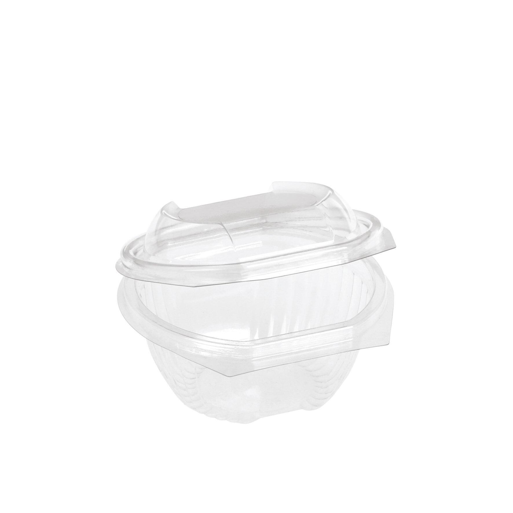 WEBAbowl  Schale oval mit Klappdeckel aus PLA    Glasklar mit anhängendem Deckel, flüssigkeitsdicht, -18°C bis +45°C, industriell kompostierbar