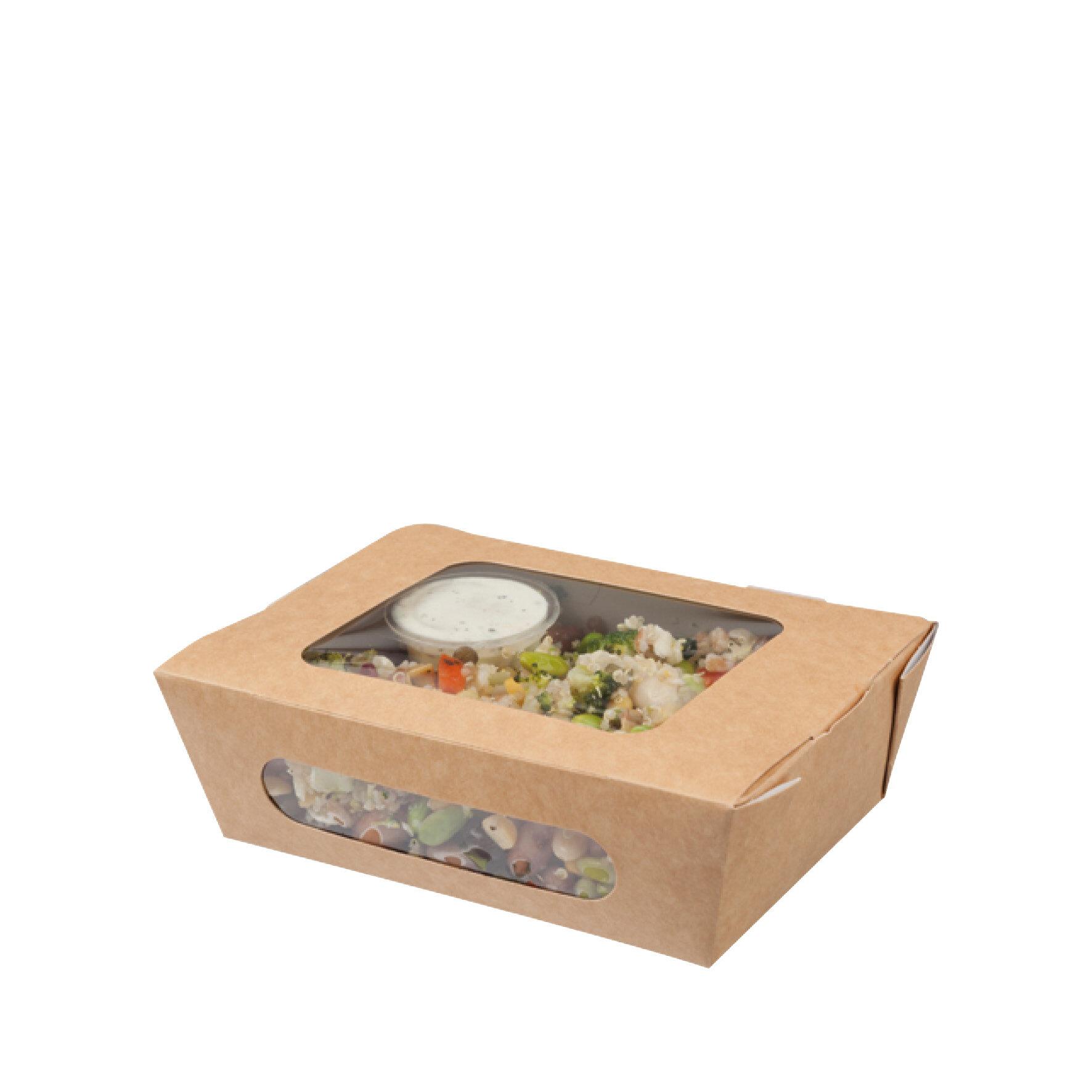 WEBAbox  Salat Box  mit Zellglas-Sichtfenstern    Monomaterial (Holz), kompostierbar
