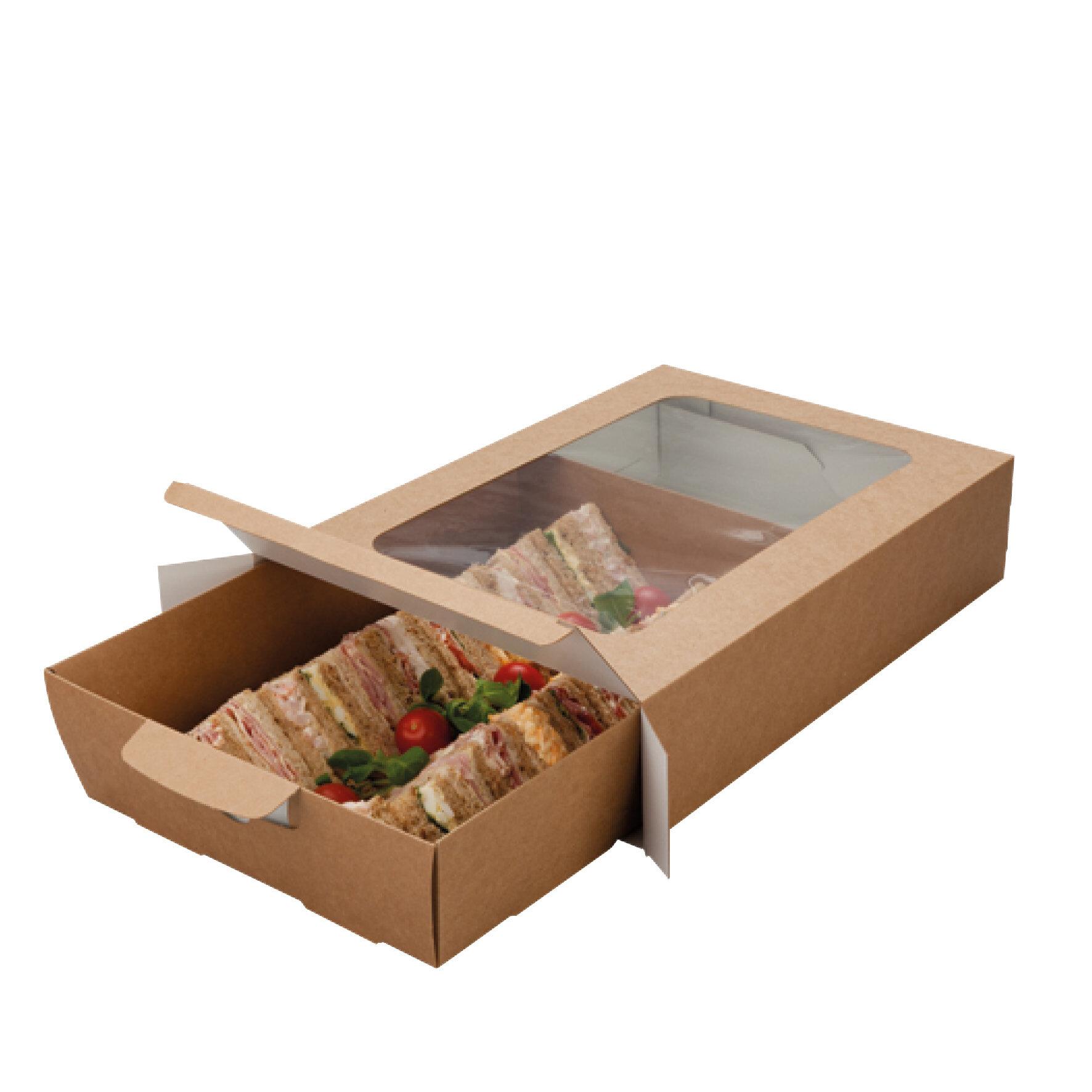 WEBAbox  Cateringbox  mit Zellglas Sichtfenster    Monomaterial (Holz), kompostierbar