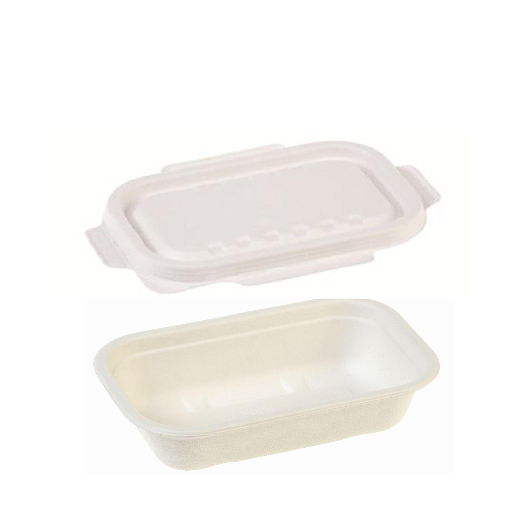 WEBAseal  Siegelschale aus Bagasse mit PBAT-Innenbeschichtung    flüssigkeitsdicht versiegelbar, tiefkühlgeeignet bis -18°C, geeignet für Heißabfüllung bis 85°C, industriell kompostierbar