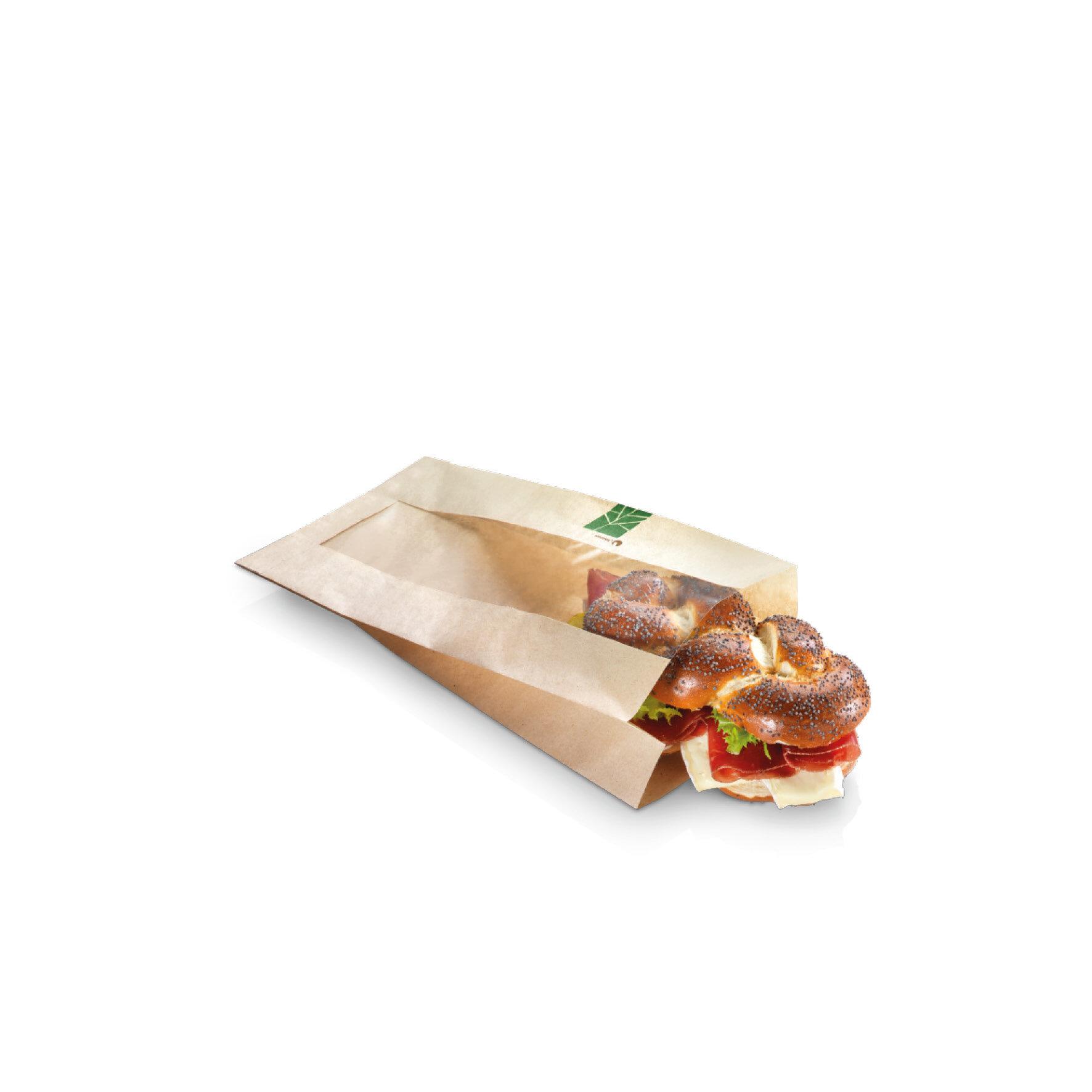 WEBAbag  Seitenfaltenbeutel PaperWise mit PLA-Sichtstreifen mittig    individuell bedruckbar, industriell kompostierbar