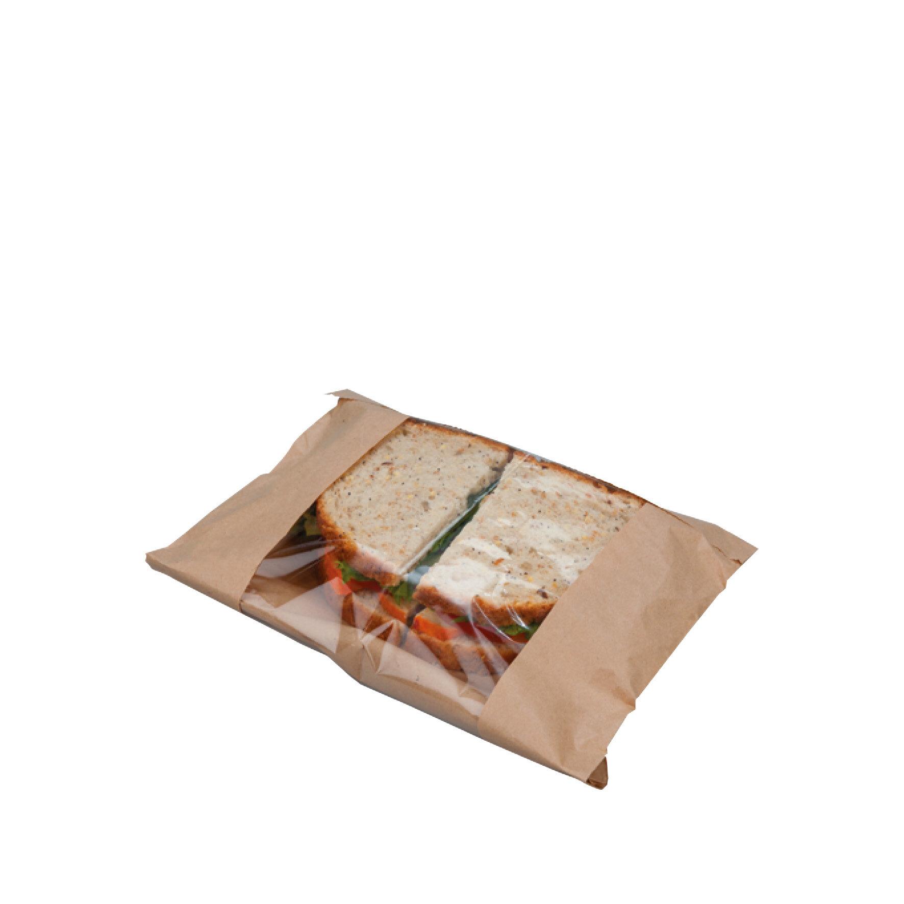 WEBAbag  Flachbeutel Kraft mit  Zellglas-Sichtstreifen mittig    individuell bedruckbar, Monomaterial, kompostierbar