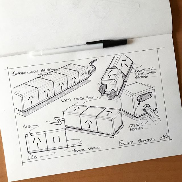Twisty power board to stop flexed cable stress when jammed up under a cabinet or desk. . #sketchdaily #sketching #instasketch #productdesign #industrialdesign #produktdesign #dailysketch #productsketch #id #idsketching #idsketches #idsketch #sketch #sketches #designinspiration #product #ideation #sketchbook #art #instagood #electronics  @industrialdesigncommunity @everydaydesignuk @wirebook @sketch.archive @idsketchesofficial