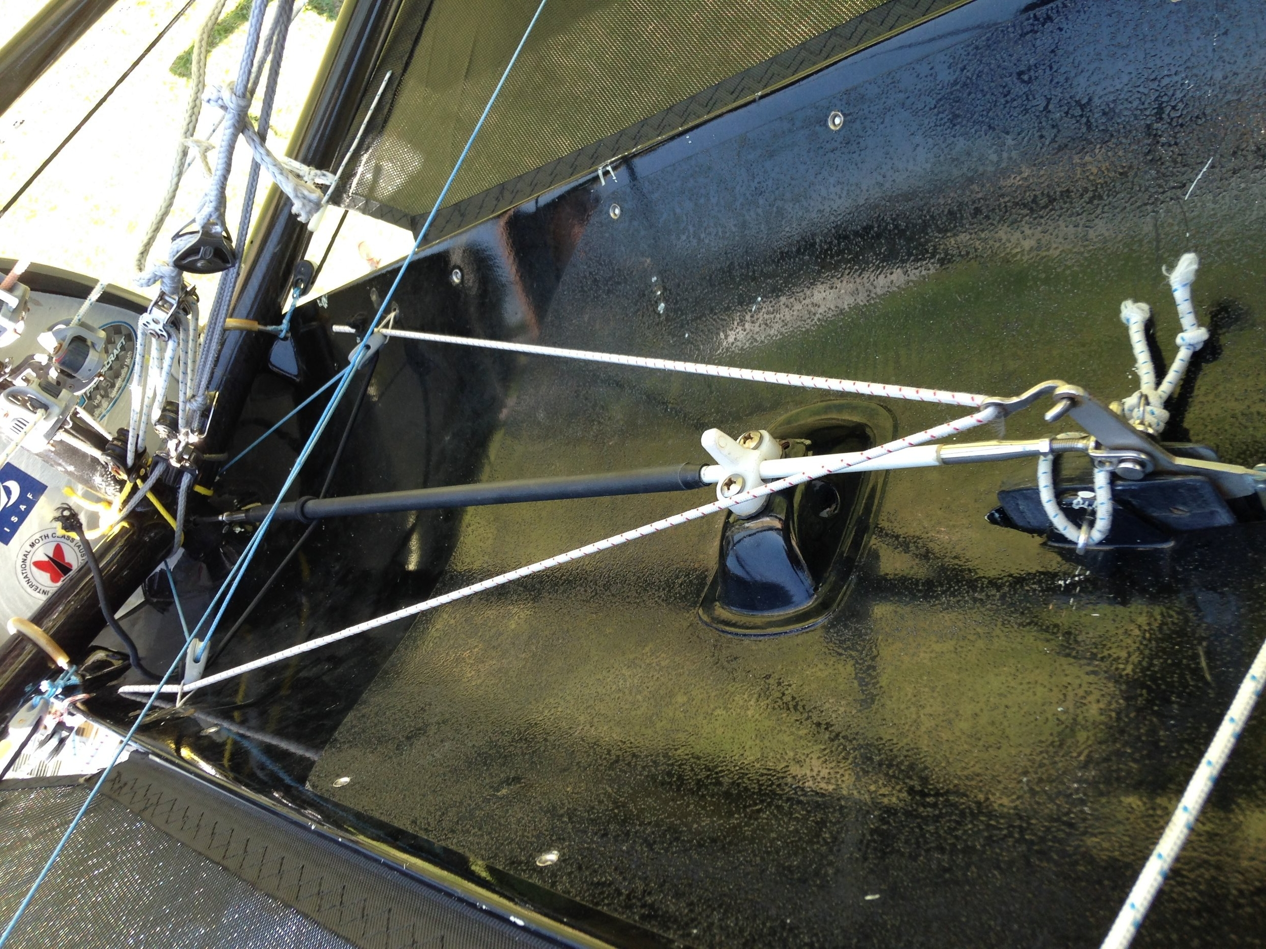 Adjustable part of control rod in cockpit (control rod passes through mast stump as mid length guide)