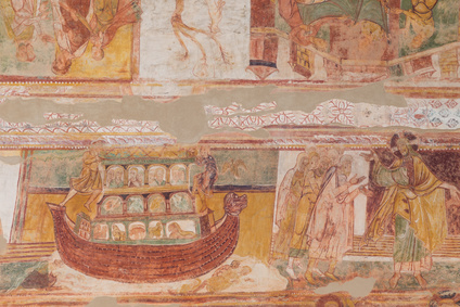 Noah's Ark from the murals of Saint Savin, France