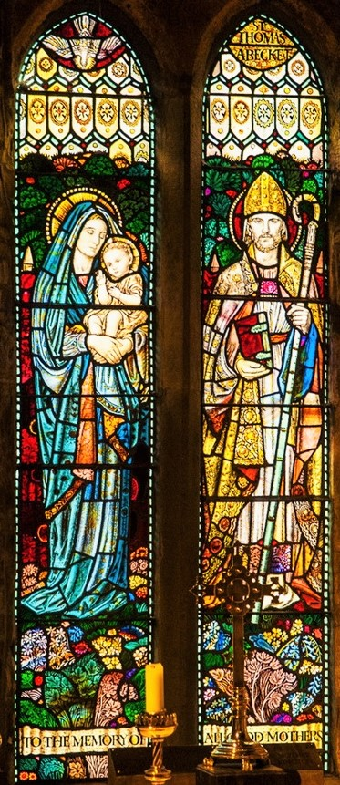 Altar window (Henry Payne), 'To The Memory of All Good Mothers'