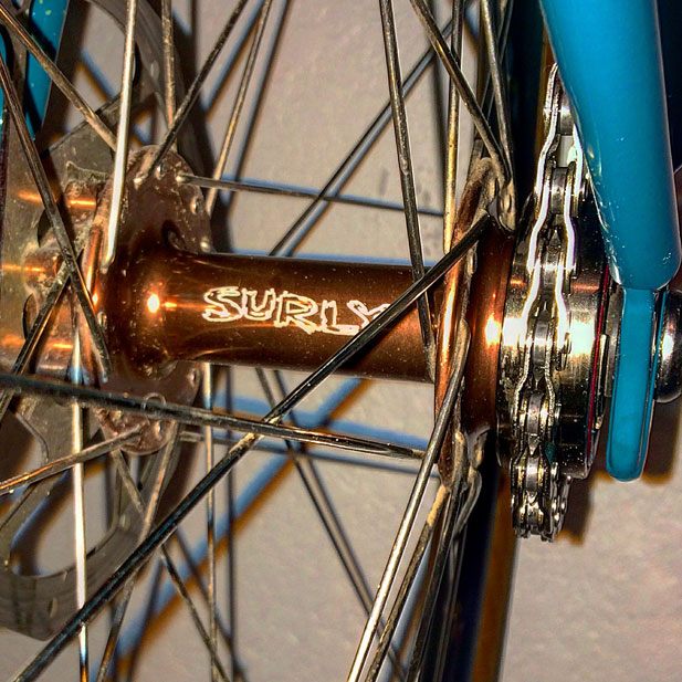 Surly Jim Brown single speed disc hubs with Sun Ringle cyclocross rims