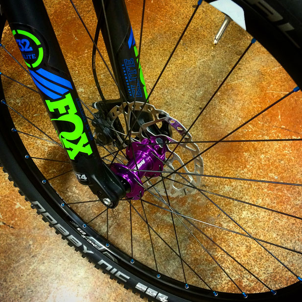 Hope Pro 4 hubs with Paceline 7075 aqua nipples & Giant rims